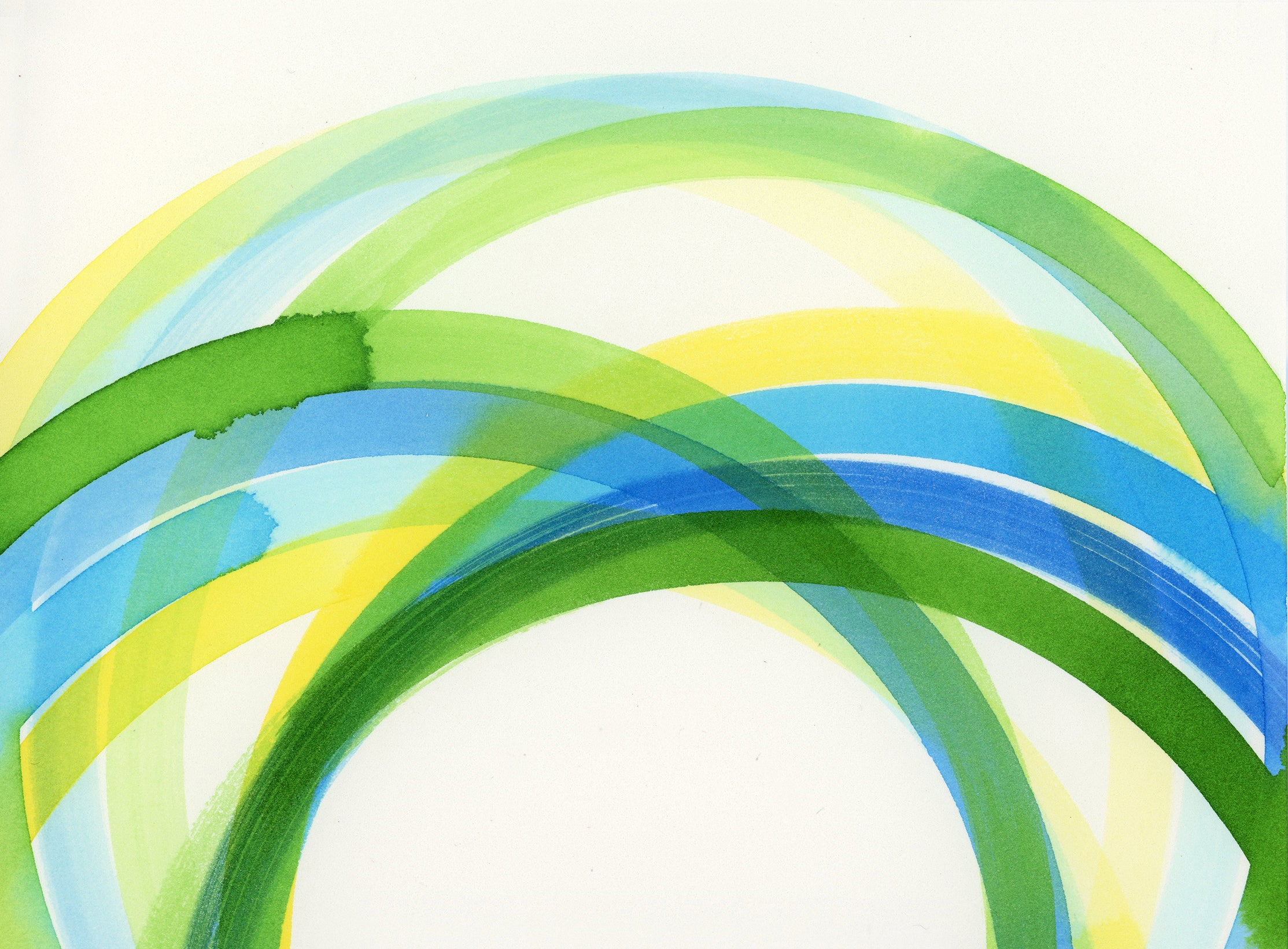 abstract painting of interlocking yellow, green, blue circles detail