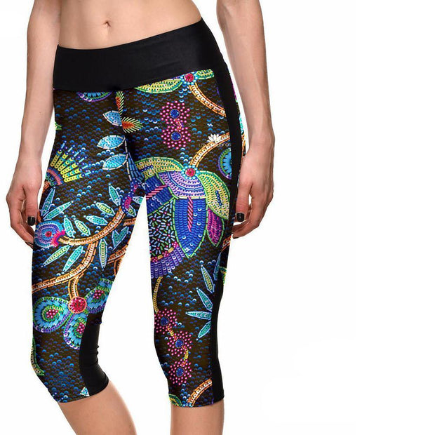 NEON FLORAL ATHLETIC CAPRI