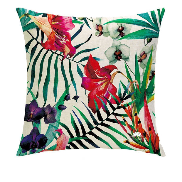 BOTANICAL FLAMINGO PILLOW COVER