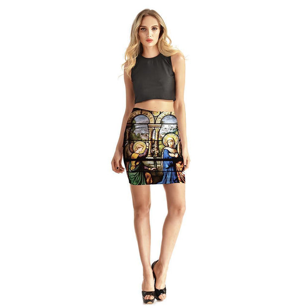 MURAL PAINTING BODYCON SKIRT