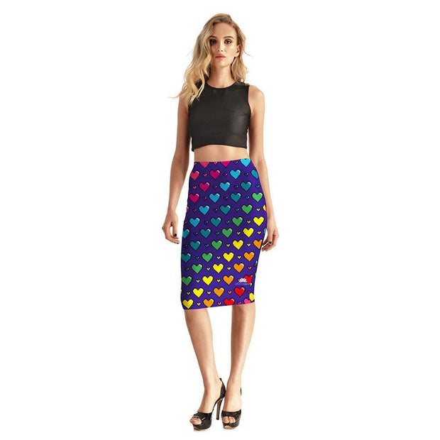 COLORFUL HEARTS PENCIL SKIRT