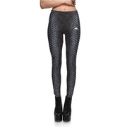 SILVER SNAKESKIN LEGGINGS