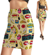 COMIC BOOK GAL BODYCON SKIRT