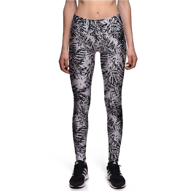 Grey Palm Athletic Leggings - Lotus Leggings