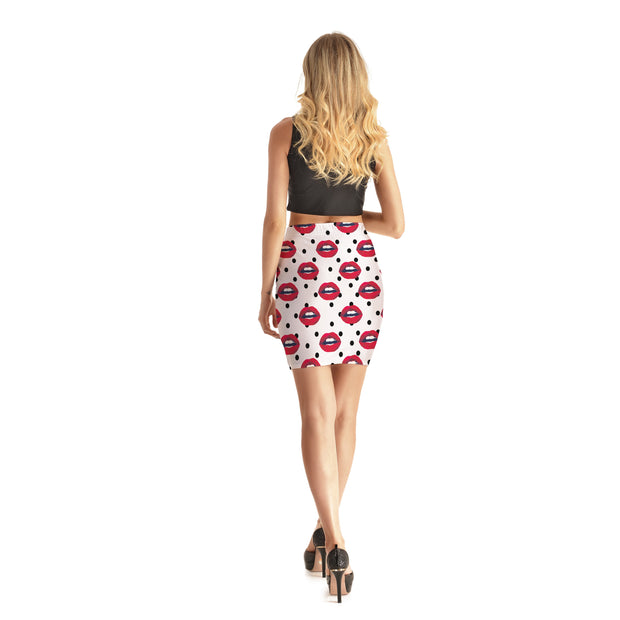 Chatty Lips Bodycon Skirt - Lotus Leggings