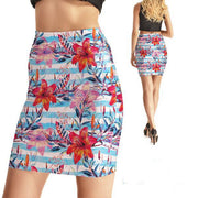 FLOWER STRIPES BODYCON SKIRT
