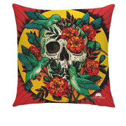 HUMMINGBIRD SKULL PILLOW COVER