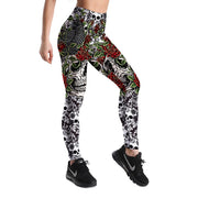RED ROSE DIA DE LOS MUERTOS LEGGINGS