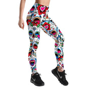 MULTI-COLOR DIA DE LOS MUERTOS LEGGINGS