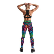 MULTI-COLOR FEATHER LEGGINGS