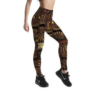 POLYNESIAN TIKI MASK LEGGINGS