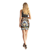 Mural Painting Short Skirt - Lotus Leggings