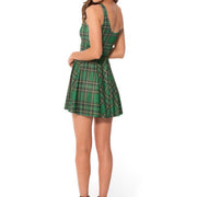 TARTAN GREEN SKATER DRESS - Lotus Leggings