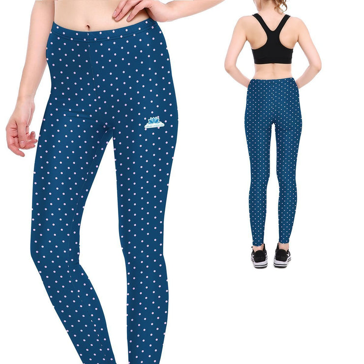 Blue Polka Dot Leggings - Lotus Leggings