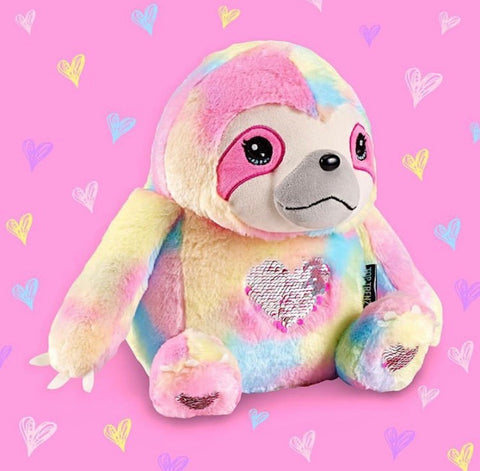 Sloth Rainbow Sequin Heart Plush Rainbow Furry Sloth