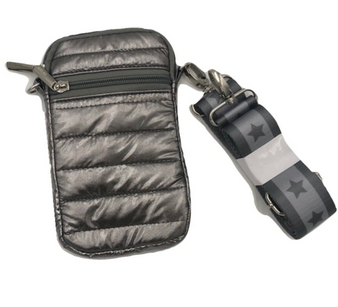 Gun Metal Puffer Crossbody Cell Bag