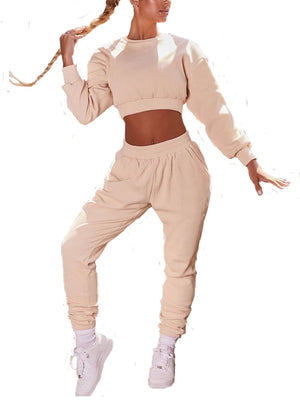 OSSIA Women's 2 Piece Workout Tracksuit Long Sleeve Crop Top Jogger Pants Set