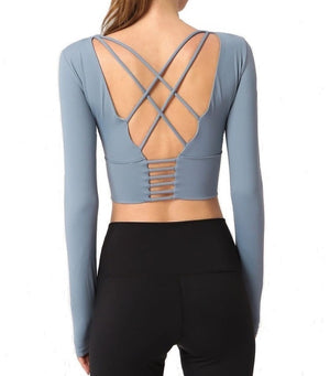 OSSIA Long Sleeve Bra Crop Top