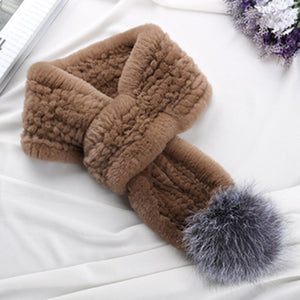 Rex Rabbit Fur Scarf with Sliver fox fur ball Knit Real Fur Scarves Soft Short Fur Scarf Fur Pompoms Women Rex Rabbit Fur Scarf