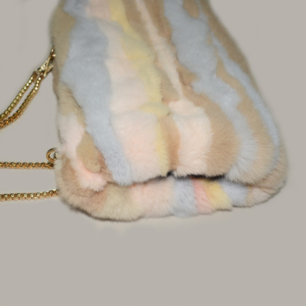 Natural Fur Handbag Handmuff Hand Warmer With detachable Chain Natural Rex Rabbit Fur Patchwork