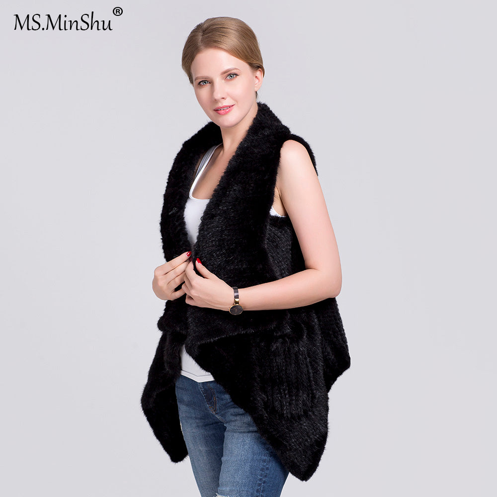Natural Mink Fur Vest For Women Hand knitted Mink Fur Waistcoat Winter Knitted Real Mink Fur gilet with pockets sweater vest