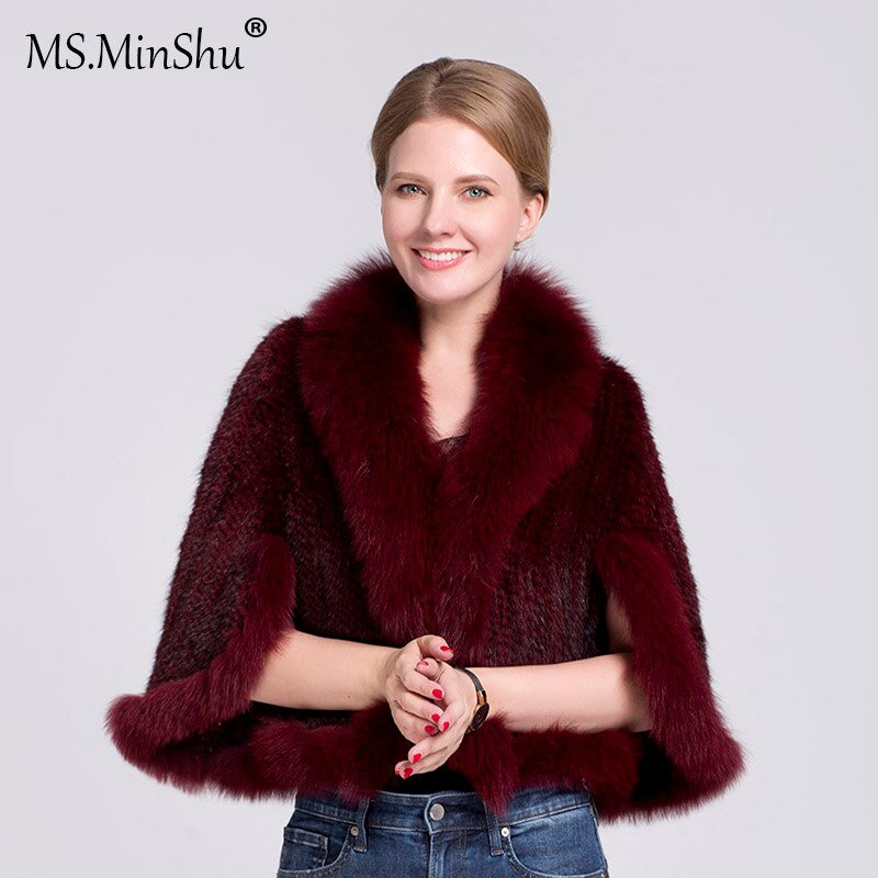 Natural Mink Fur Poncho Fox Fur Trimmed Mink Fur Coat Fox Fur Collar Women Outwear Sleeveless Woven Mink Fur Jacket