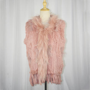 Knitted Rabbit Fur Vest with Raccoon fur trim Natural Fur Waistcoat Sleeveless with Tassle Autumn Vest O neck