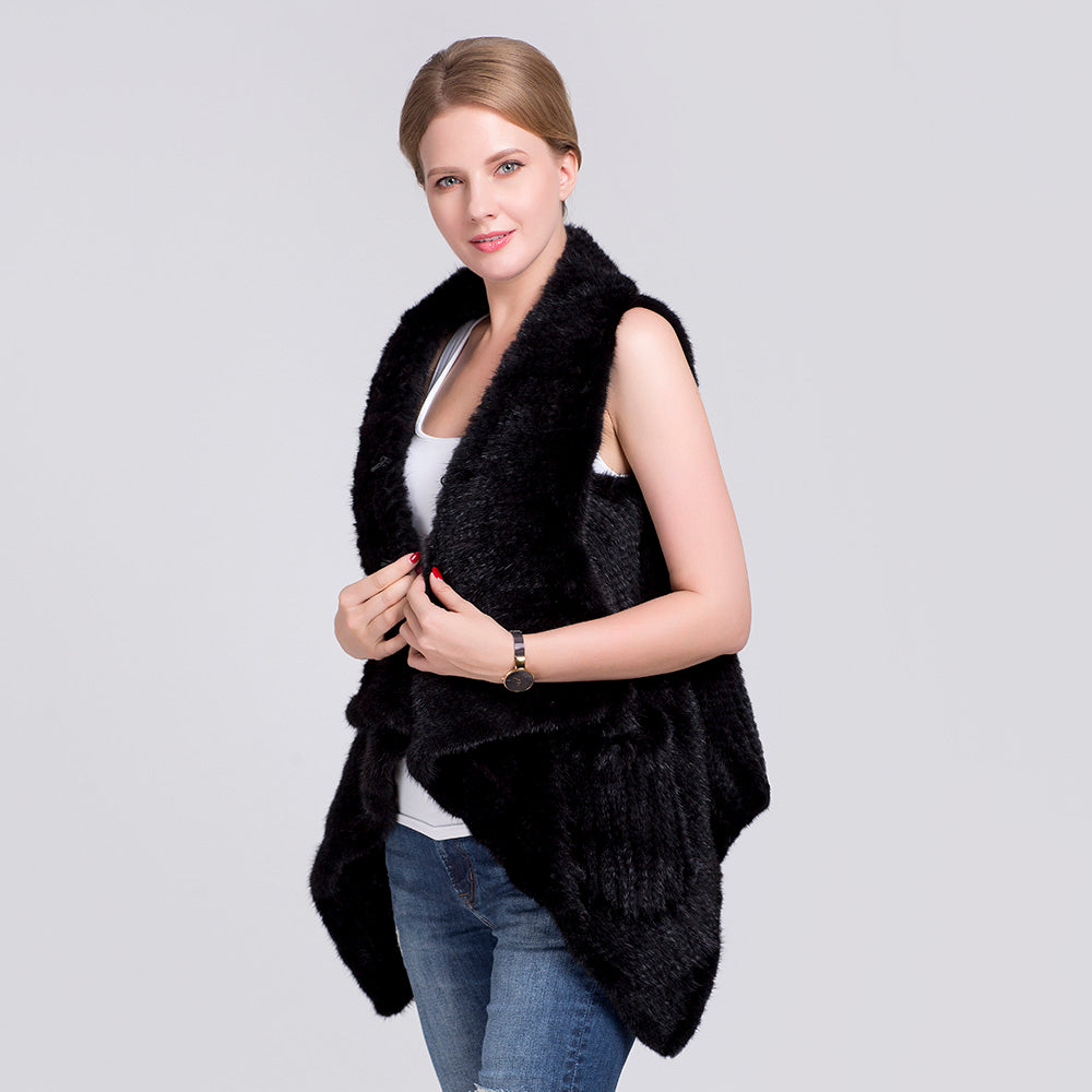 Natural Mink Fur Vest For Women Hand knitted Mink Fur Waistcoat Winter Knitted Real Mink Fur gilet with pockets