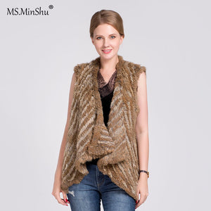 Knitted Real Rabbit Fur Vest Sleeveless Vest Women cardigan Fashion Slim Fur Gelit Natural Fur Waistcoat Autumn
