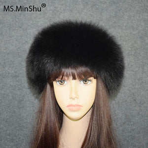 Fox Fur Headband Whole Fox Skin Made Head Band Velcro Closure Women Winter Head Warmer Earflap