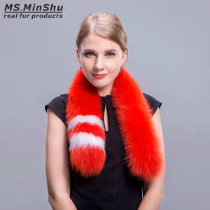 Fashion Fox Fur Scarf Collar Genuine Fox Fur Collar Scarf Winter Fox Fur Shawl Real Fur Scarves for Women