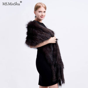 Luxury Fox Fur Shawl Real Fox Fur Wrap Winter Autumn Hand Knit Natural Fox Fur Scarf with Fringes Real Fur Stole