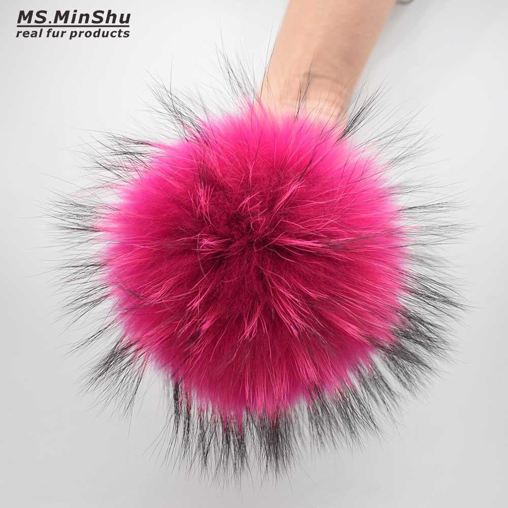 Raccoon Fur Ball with Snap Natural Fur Pompom for Cap Genuine Fox Fur Charm For Bag Pendant