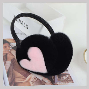 Real Fur Earflap Girl' Earmuffs Woman Rabbit Fur Earmuff  Christmas Gift Cute Ear Warmer Winter Warm Earmuffs Unisex