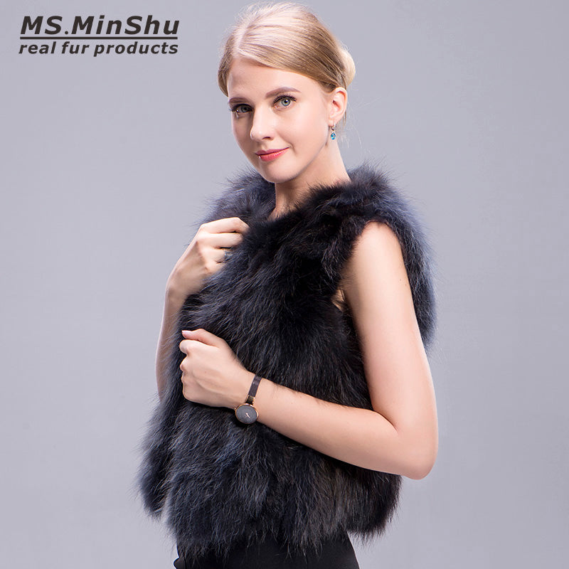 Real Fur Vest 100% Real Fox Fur Gilet Natural Fox Fur Vest Women Factory Wholesale Retail Female Fur Waistcoat