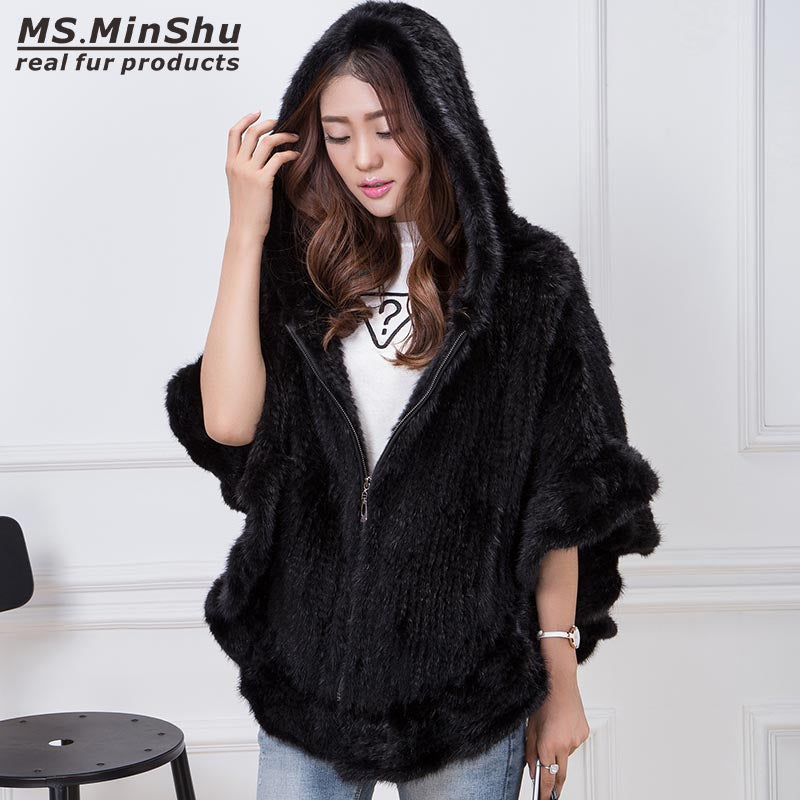 Hand Knitted Mink Fur Poncho Women Real Fur Cape Hooded Coat Zipper Fashion Lady's Outwear Genuine Mink Fur Shawl