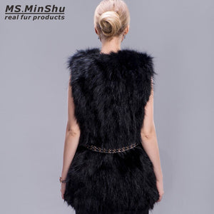 Genuine Fox Fur Jacket Sleeveless Female Winter Fur Coat Thick Warm Fur Waistcoat Winter Gelit Long Fox Fur Waistcoat