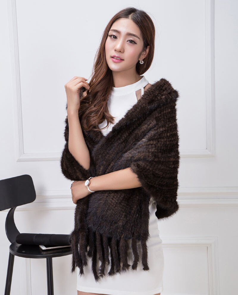 Knitted Mink Fur Shawl Fashion Pashmina Coat Real Mink Fur Scarf Wraps Autumn Winter Women Poncho Luxury Fur Shawl Female