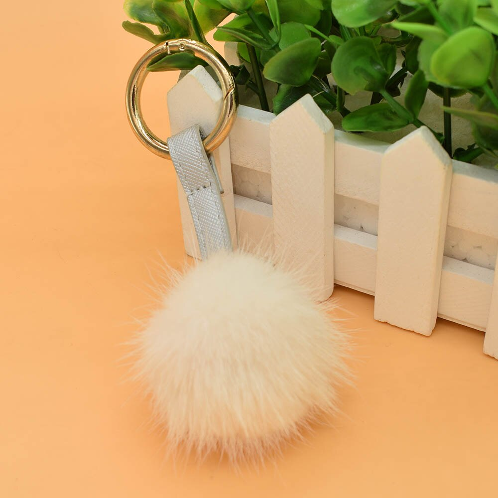 Genuine Mink Fur Pompom Keychain Car Pendant Hand Made Mink Fur PomPom Keychain Genuine Mink Fur Balls Real Mink fur bobble
