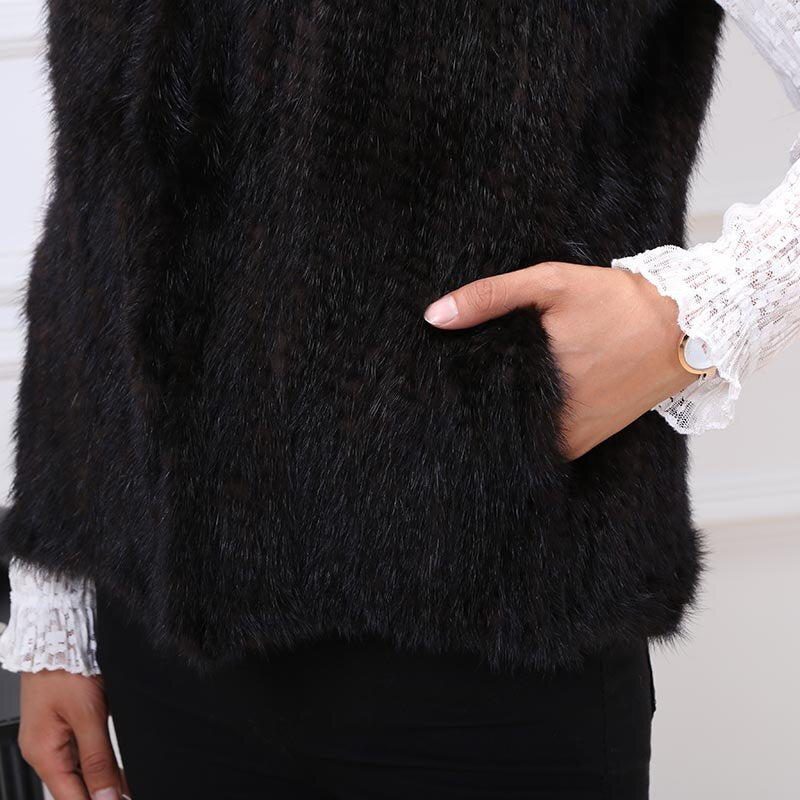 MS.MinShu Hand Knitted Genuine Mink Fur Vest Women Fur Gilet With Zipper Lady Vest Warm Regular Long Custom Made Free Shipping
