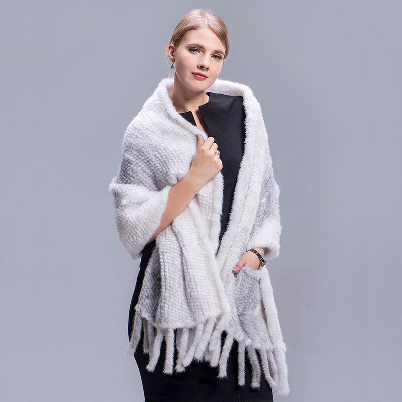 Knit Real Mink Fur Shawl Winter Autumn Mink Fur Wrap Women Mink Fur Coat Hand Knitted Natural Mink Fur Scarves