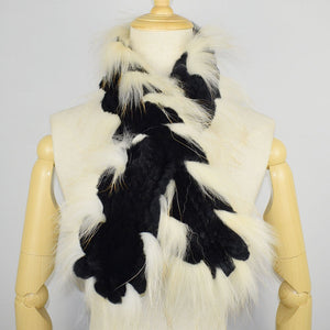 Real Fur Scarf Hand knitted Rex Rabbit Fur Scarf Genuine Fur Scarf with Fox Fur Trimming