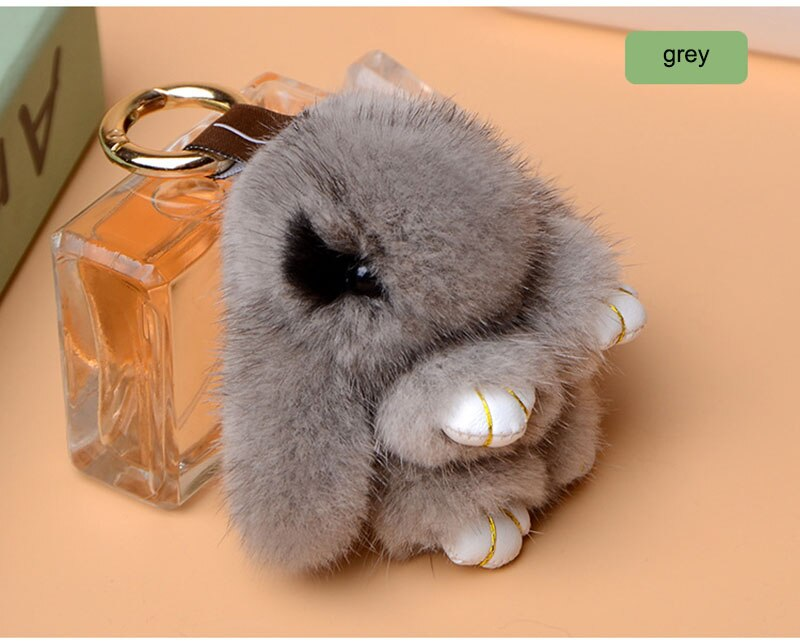 Mink Fur Charm Cute Rabbit Natural Mink Fur Bag Charm High quality Rabbit Made by Mink fur Fashion Charm For Bag