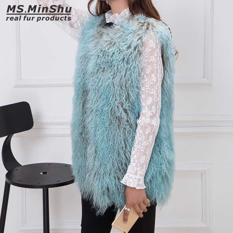 Ms.MinShu Real Lamb Fur Vest Fashion Woman Coat Mongolian lamb fur Vest Winter Waistcoat Long Fluffy Fur Coat