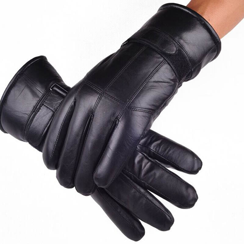 Sheepskin Gloves Fashion Genuine Leather with inside Sheep hair Glove Luxury For Men Russian Winter Real Fur Gloves