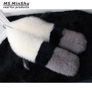 MS.MinShu Genuine Fox Fur Scarf Middle Length Luxury Real Fur Shawl Women Fox Fur Poncho Lady's Neck Warmer Lady  Fox Fur Wrap