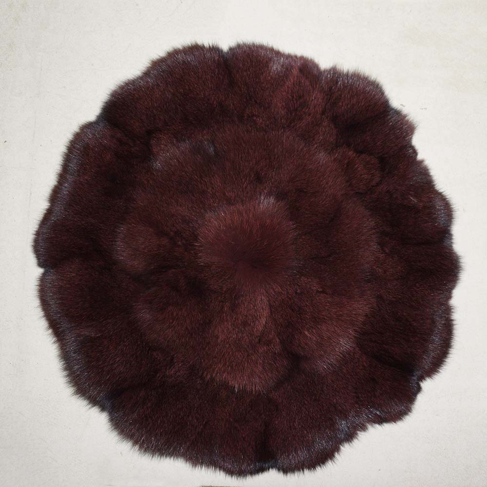 Natural Fox Fur Cushion for seat Patchwork Round Shape Genuine Fox fur Cushions for Car Seat