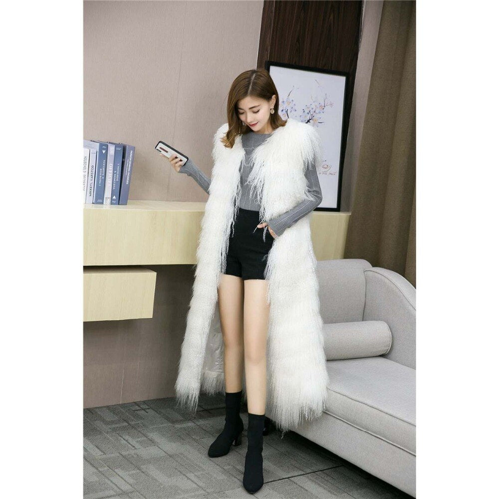 Genuine Fur Vest Long Coat Winter Mongolian Lamb Fur Vest Waistcoat Real Fur Vest Fluffy Fur Gilet Female Fashion coat