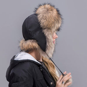 Fox Fur Hat Women's Genuine fox fur Trapper Hat with pom pom Russian Fur Hat Unisex Winter Earflap Natural Fox Fur Cap
