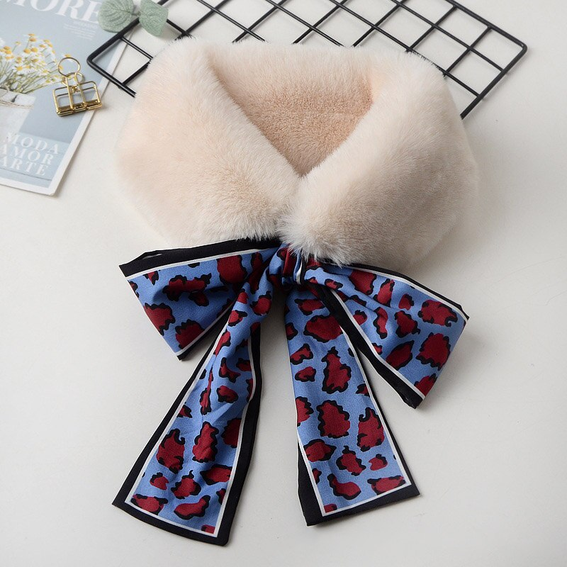 Women Fur Scarf with Silky Ribbons Faux Fur Scarf Fashion Neck Warmer Female Fur Collar Artificial Fur Soft Collar